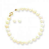 Baby Cultured Pearl Set Bracelet Screw back Earrings in 14k Yellow Gold
