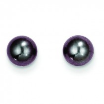 Black Cultured Pearl Earrings in 14k White Gold