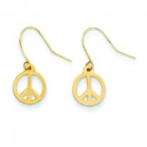 Peace Sign Dangle Earrings in 14k Yellow Gold