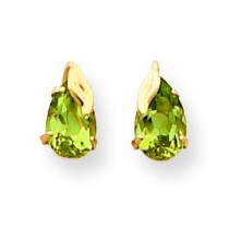 Peridot With Leaf Post Earrings in 14k Yellow Gold