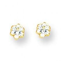 White Topaz Apr Screw back Earrings in 14k Yellow Gold
