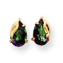 Mystic Fire With Leaf Stud Earrings in 14k Yellow Gold