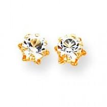 White Topaz Apr Earrings in 14k Yellow Gold
