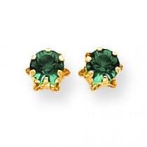 Emerald May Earrings in 14k Yellow Gold
