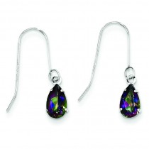 Pear Mystic Fire Topaz Earrings in 14k White Gold