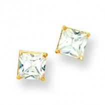 Square CZ Post Earrings in 14k Yellow Gold