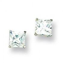 Square CZ Post Earrings in 14k White Gold