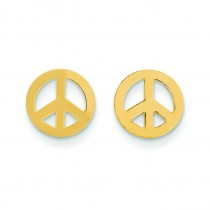 Peace Sign Post Earrings in 14k Yellow Gold