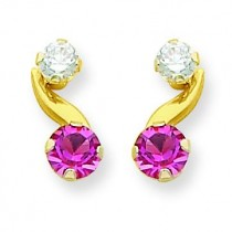 Synthetic Pink Tourmaline Oct Post Earrings in 14k Yellow Gold
