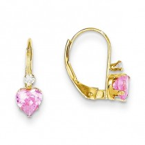 Clear Pink CZ Heart Leverback Earrings in 14k Yellow Gold