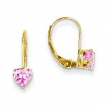 Pink CZ Heart Leverback Earrings in 14k Yellow Gold