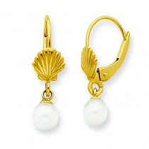 Shell W Freshwater Cultured Pearl Leverback Earrings in 14k Yellow Gold