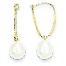 Freshwater Cultured Pearl Dangle Earrings in 14k Yellow Gold