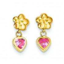 Flower Heart W Pink CZ Post Earrings in 14k Yellow Gold