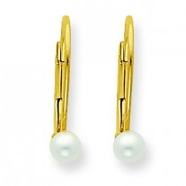 Genuine Freshwater Cultured Pearl Jun Leverback Earrings in 14k Yellow Gold