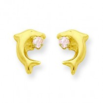 Dolphin W Pink CZ Post Earrings in 14k Yellow Gold