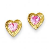 Pink CZ Heart Post Earrings in 14k Yellow Gold