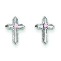 Cross W Pink CZ Post Earrings in 14k Yellow Gold