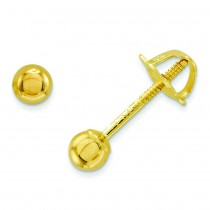 Ball Screw back Earrings in 14k Yellow Gold