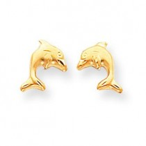Satin Dolphin Earrings in 14k Yellow Gold