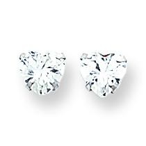 CZ Heart Earrings in 14k White Gold