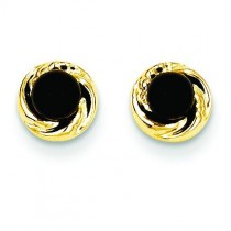 Onyx W Gold Wreath Earrings in 14k Yellow Gold