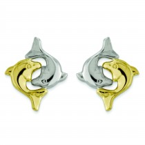 Yellow Gold Dolphin Post Earrings in 14k Yellow Gold