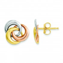 Tricolor Circle Post Earrings in 14k Tri-color Gold