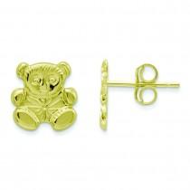 Teddy Bear Earrings in 14k Yellow Gold