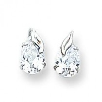 Pear CZ With Leaf Post Earrings in 14k White Gold
