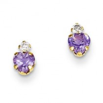 Amethyst Heart CZ Earrings in 14k Yellow Gold