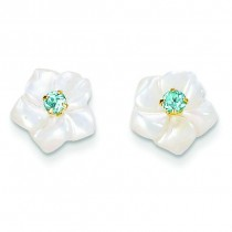 Mother Of Pearl Flower With Blue Topaz Post Earrings in 14k Yellow Gold