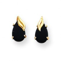 Pear Shaped Onyx W Leaf Earrings in 14k Yellow Gold