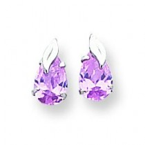Pink Pear Shaped CZ With Leaf Post Earrings in 14k White Gold