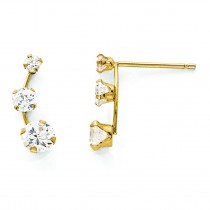 Curved Stone CZ Post Earrings in 14k Yellow Gold