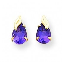 Amethyst W Leaf Earrings in 14k Yellow Gold