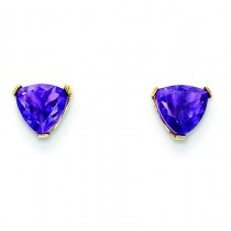 Trillion Shape Amethyst Earrings in 14k Yellow Gold