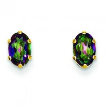 Oval Mystic Fire Topaz Post Earrings in 14k Yellow Gold