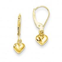 Puffed Heart Drop Earrings in 14k Yellow Gold