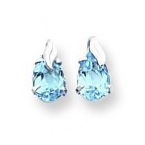 W Blue Topaz W Leaf Earrings in 14k White Gold