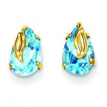 Blue Topaz With Leaf Post Earrings in 14k Yellow Gold