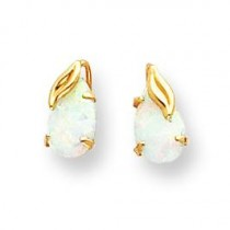 Opal W Leaf Post Earrings in 14k Yellow Gold