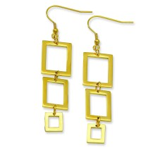 Stainless Steel Gold Color Iprectangle Dangle Earrings in Stainless Steel