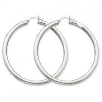Tube Hoop Earrings in 14k White Gold