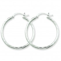 Diamond Cut Round Tube Hoop Earrings in 14k White Gold