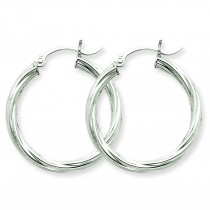 Twisted Hoop Earrings in 14k White Gold