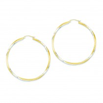 Diamond Cut Twisted Hoop Earrings in 14k Yellow Gold