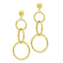 Triple Ring Dangle Post Earrings in 14k Yellow Gold