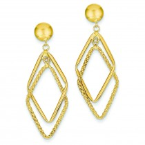 Patterned Diamond Shaped Post Earrings in 14k Yellow Gold