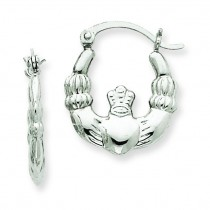 Claddagh Hoop Earrings in 14k White Gold